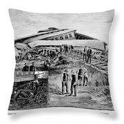 Railroad Accident, 1887 Throw Pillow