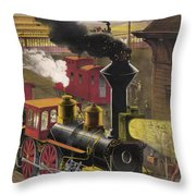 Railroad Junction, C1876 Throw Pillow