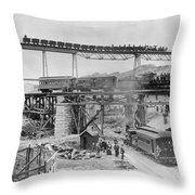 Railroading Construction Throw Pillow