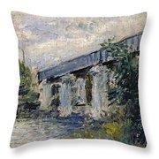 Railway Bridge At Argenteuil Throw Pillow