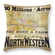 Railway Poster, 1870s Throw Pillow