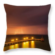 Rain Of Lightnings Throw Pillow