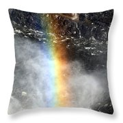 Rainbow And Falls Throw Pillow
