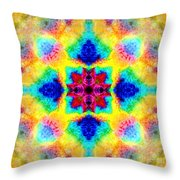 Rainbow Light Mandala Throw Pillow