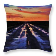 Rainy Highway Throw Pillow by Benjamin Yeager
