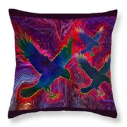 Raven On Red Throw Pillow
