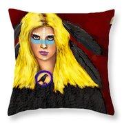 Raven Yellow Hair Throw Pillow