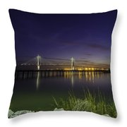 Rocky Shore In Charleston Sc Throw Pillow