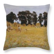Reapers Resting In A Wheat Field Throw Pillow