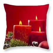 Red Advent Wreath With Candles Throw Pillow