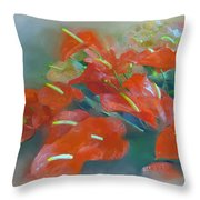Red Anthurium Throw Pillow