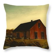 Red Barn   No. 3 Throw Pillow