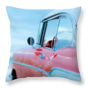 Red Chevy '57 Bel Air At The Beach Square Throw Pillow by Edward Fielding