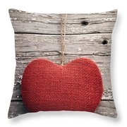 Red Burlap Heart On Vintage Table Throw Pillow