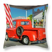 Red Dodge Pickup Truck Parked In Front Throw Pillow