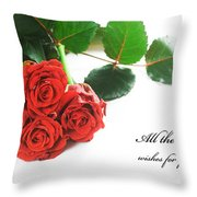 Red Fresh Roses On White Throw Pillow