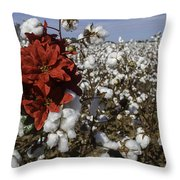 Red In The Cotton  Throw Pillow