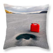 Red Jerrycan Lost On Frozen Lake Laberge Yukon T Throw Pillow