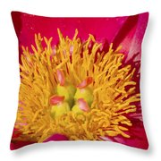 Red Peony Flower Throw Pillow