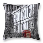 Red Phone Box At St Pauls Cathedral London Throw Pillow