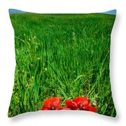 Red Poppies And Oak Throw Pillow