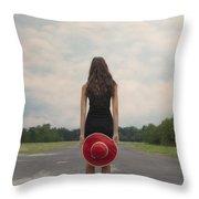 Red Sun Hat Throw Pillow