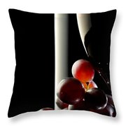 Red Wine With Grapes Throw Pillow by Johan Swanepoel