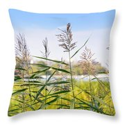 Reed Flowers Throw Pillow