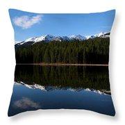 Reflection Bay - Jasper, Alberta - Panorama Throw Pillow