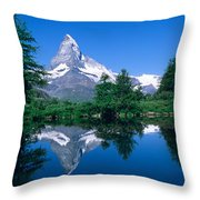 Reflection Of A Snow Covered Mountain Throw Pillow