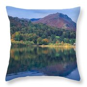 Reflection Of Hills In A Lake Throw Pillow
