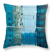 Reflections In Modern Glass-walled Building Facade Throw Pillow