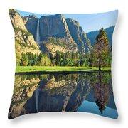 Reflections Of Yosemite Falls Throw Pillow