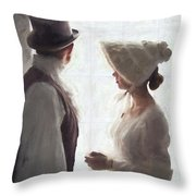 Regency Period Couple At The Window Throw Pillow