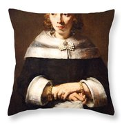 Rembrandt's Portrait Of A Lady With An Ostrich Feather Fan Throw Pillow