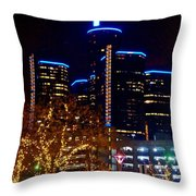 ren Cen at Night Throw Pillow