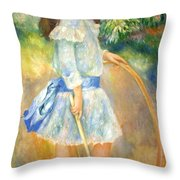 Renoir's Girl With A Hoop Throw Pillow