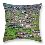 Residents Moved From Homes In Cliffs To Homes Below In 1951 In Cappadocia-turkey Throw Pillow