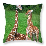 Reticulated Giraffe Calf With Mother Throw Pillow