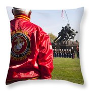Retired Marine Paying Respect Throw Pillow