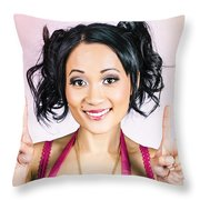 Retro Asian Girl Gesturing Peace Love And Hope Throw Pillow