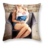 Retro Blond Beach Pinup Model With Elegant Look Throw Pillow