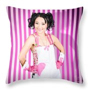 Retro Cleaning Service Maid With Smile Throw Pillow