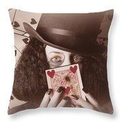 Retro Magician Holding Burnt Playing Card Throw Pillow