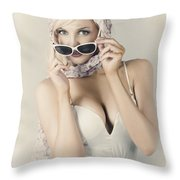 Retro Pin-up Girl In Classic Fashion Style Throw Pillow