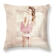 Retro Pin Up Woman Carrying Vintage Shopping Bag Throw Pillow