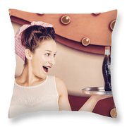 Retro Pinup Girl Holding Food And Drinks Tray Throw Pillow