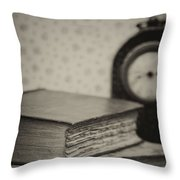 Retro Setting And Effect Of Antique Vintage Books Throw Pillow