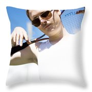 Retro Tennis 1970 Throw Pillow