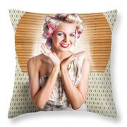 Retro Woman At Beauty Salon Getting New Hair Style Throw Pillow